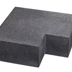 Oud Hollands hoekstuk traptreden 90gr Carbon 23x23x15 Binnen (37x15) Traptreden