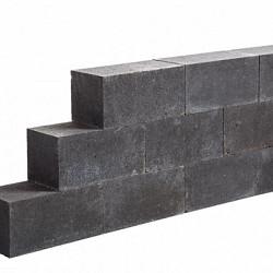 Blockstone small Black 12x12x60 Gehamerd muurelement Stapelblokken